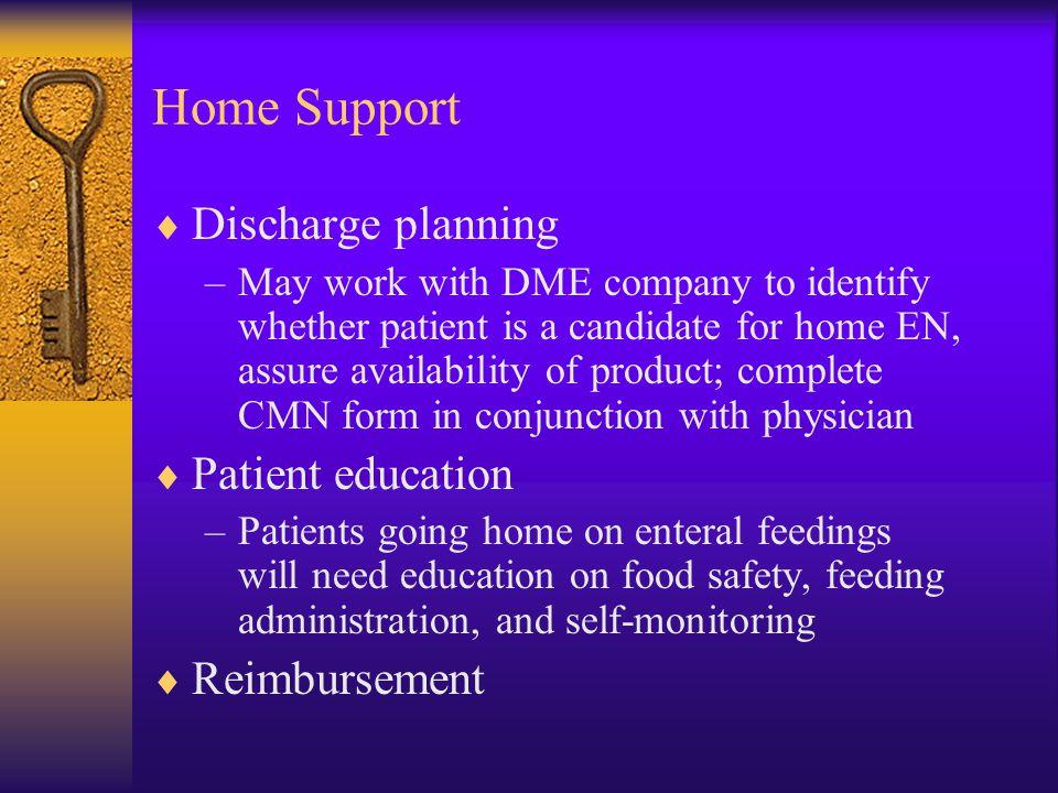 Home Support Discharge planning Patient education Reimbursement