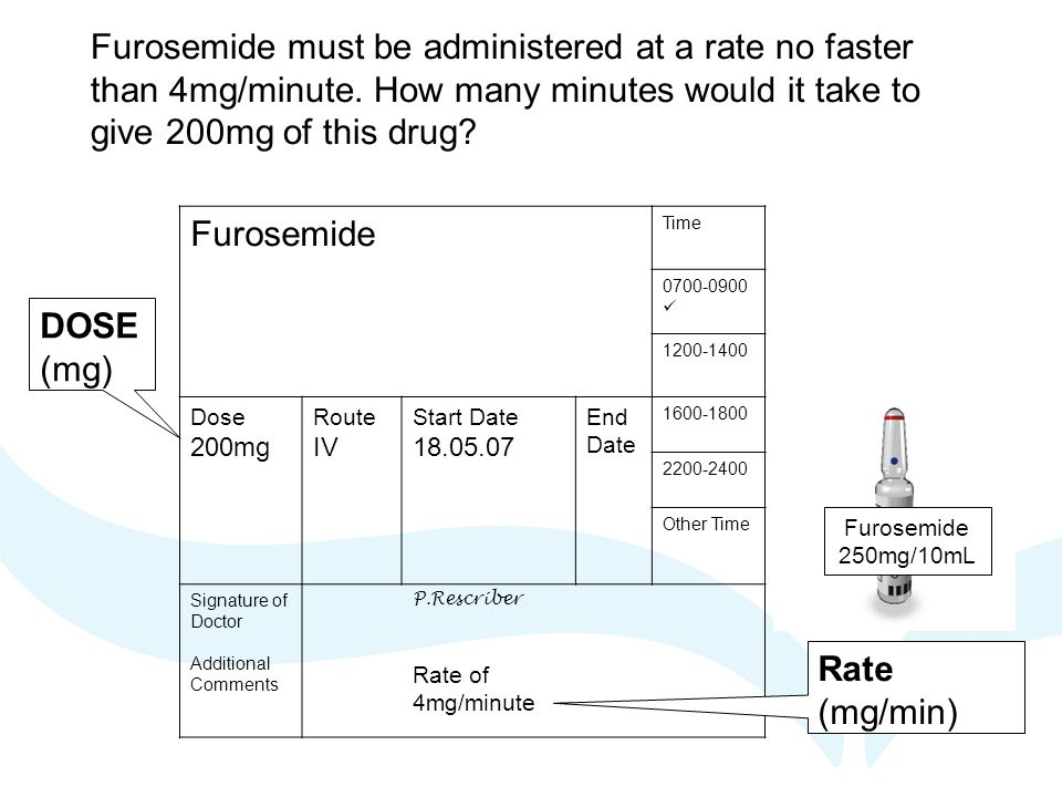 Furosemide must be administered at a rate no faster than 4mg/minute