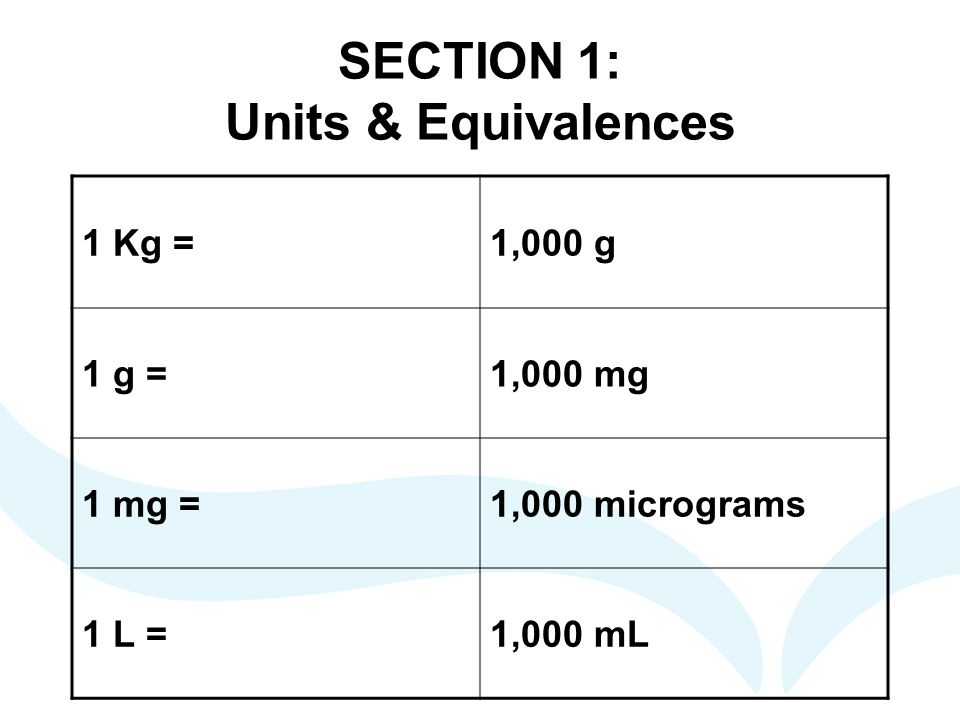SECTION 1: Units & Equivalences