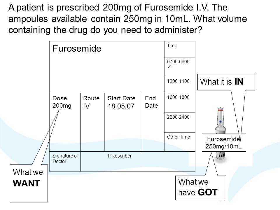 A patient is prescribed 200mg of Furosemide I. V