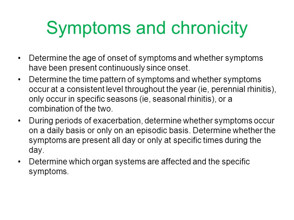 Symptoms and chronicity