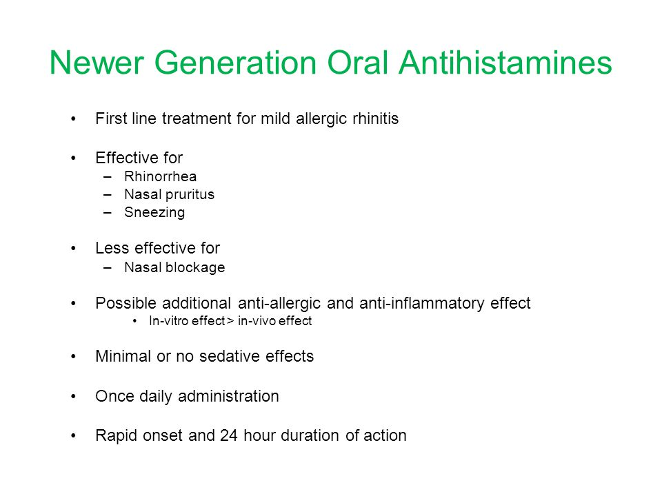 Newer Generation Oral Antihistamines