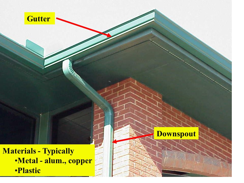 Gutter Downspout Materials - Typically Metal - alum., copper Plastic