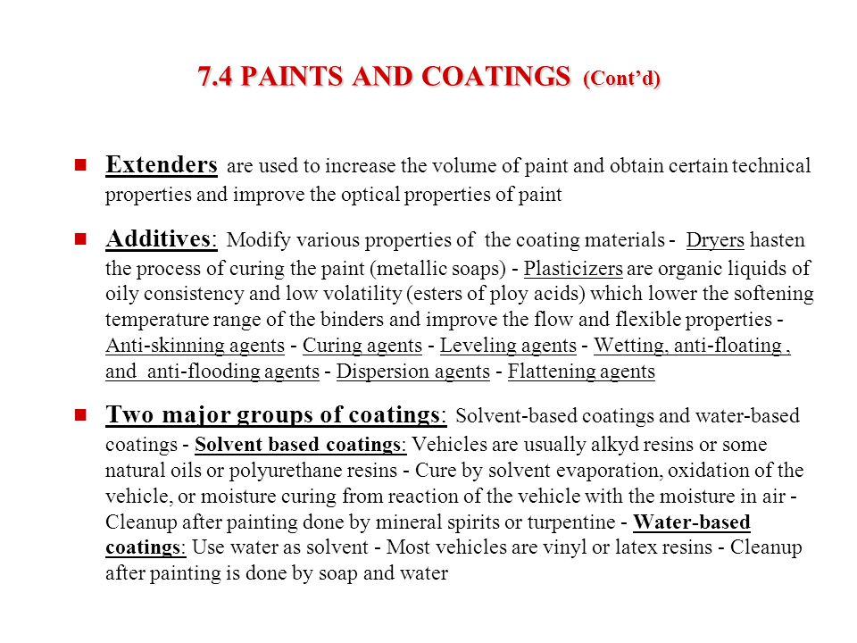 7.4 PAINTS AND COATINGS (Cont'd)