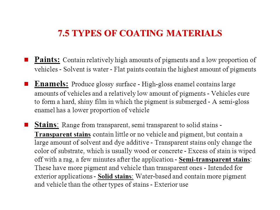 7.5 TYPES OF COATING MATERIALS