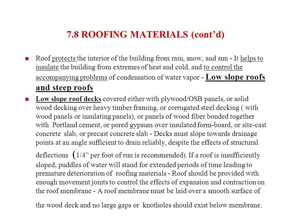 7.8 ROOFING MATERIALS (cont'd)