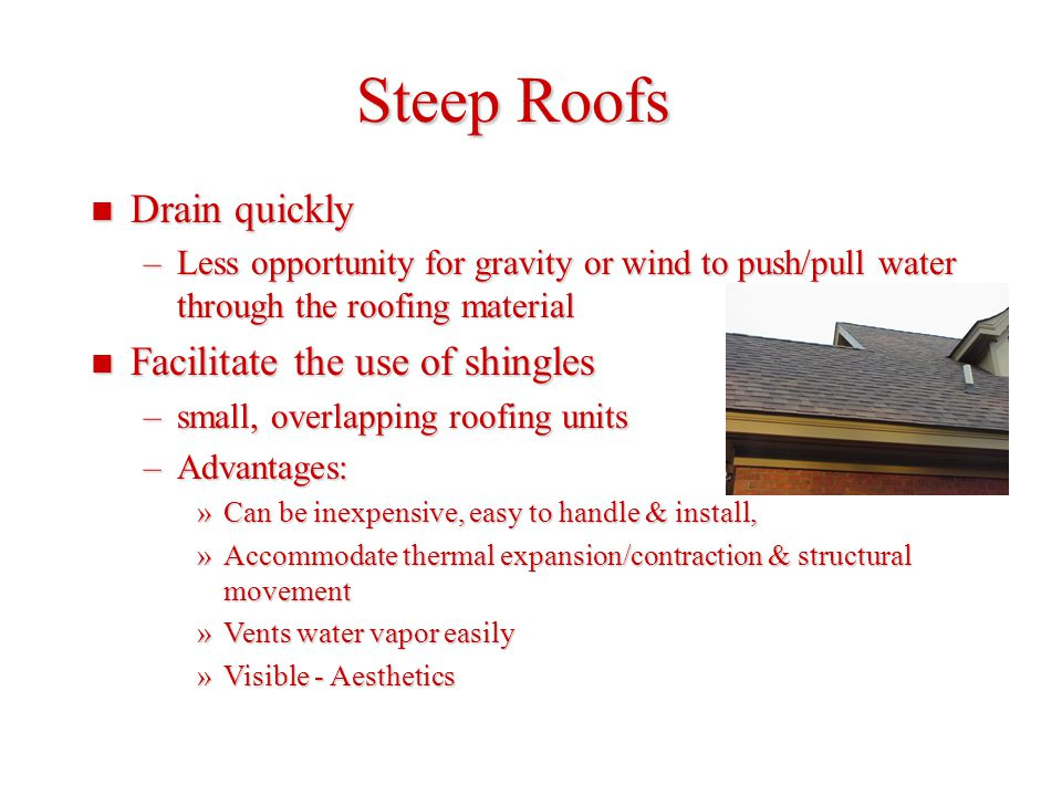 Steep Roofs Drain quickly Facilitate the use of shingles