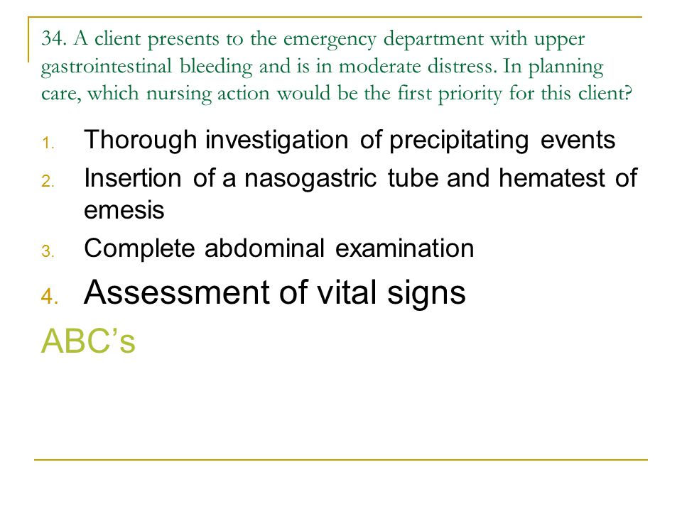 Assessment of vital signs ABC's