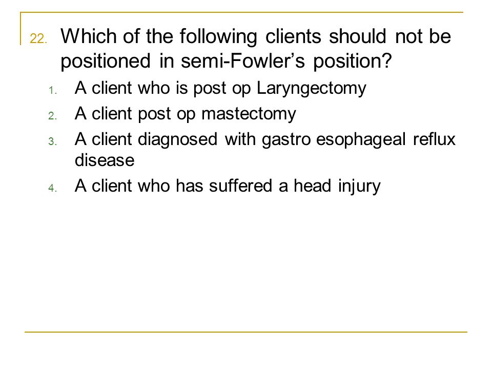 Which of the following clients should not be positioned in semi-Fowler's position