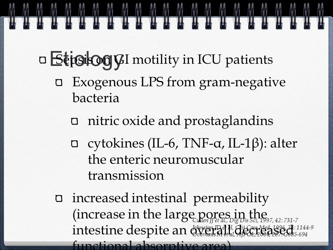 Etiology Sepsis on GI motility in ICU patients