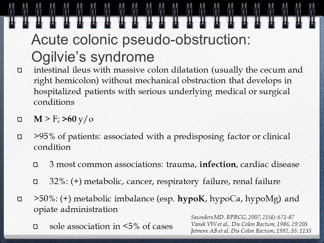 Acute colonic pseudo-obstruction: Ogilvie's syndrome