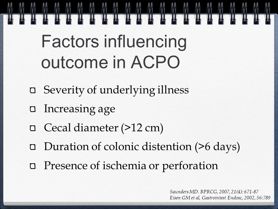 Factors influencing outcome in ACPO