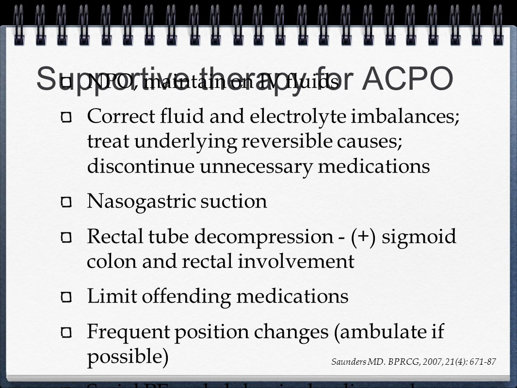 Supportive therapy for ACPO