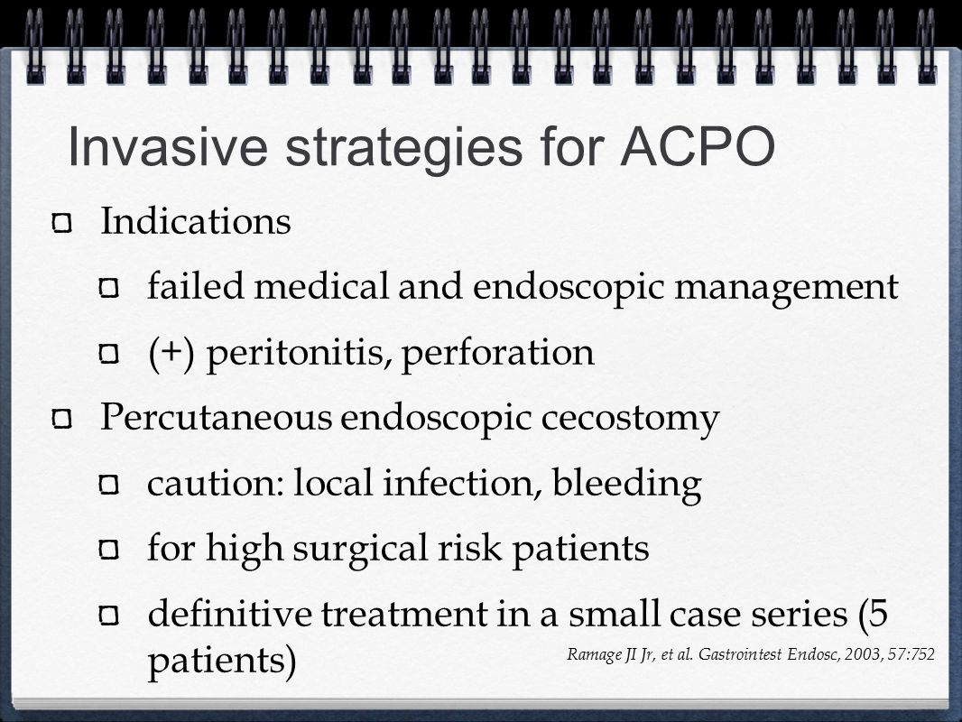 Invasive strategies for ACPO
