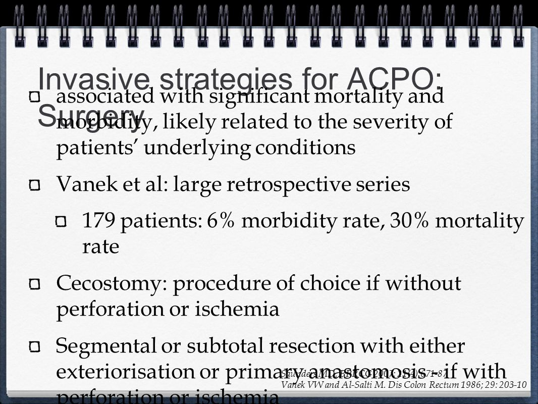 Invasive strategies for ACPO: Surgery
