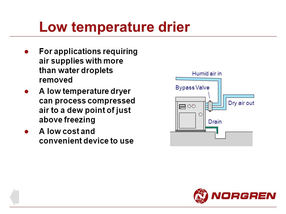 Low temperature drier For applications requiring air supplies with more than water droplets removed.