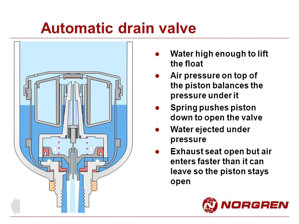 Automatic drain valve Water high enough to lift the float
