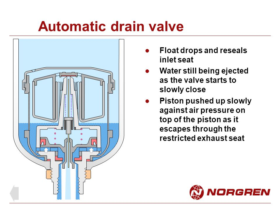 Automatic drain valve Float drops and reseals inlet seat