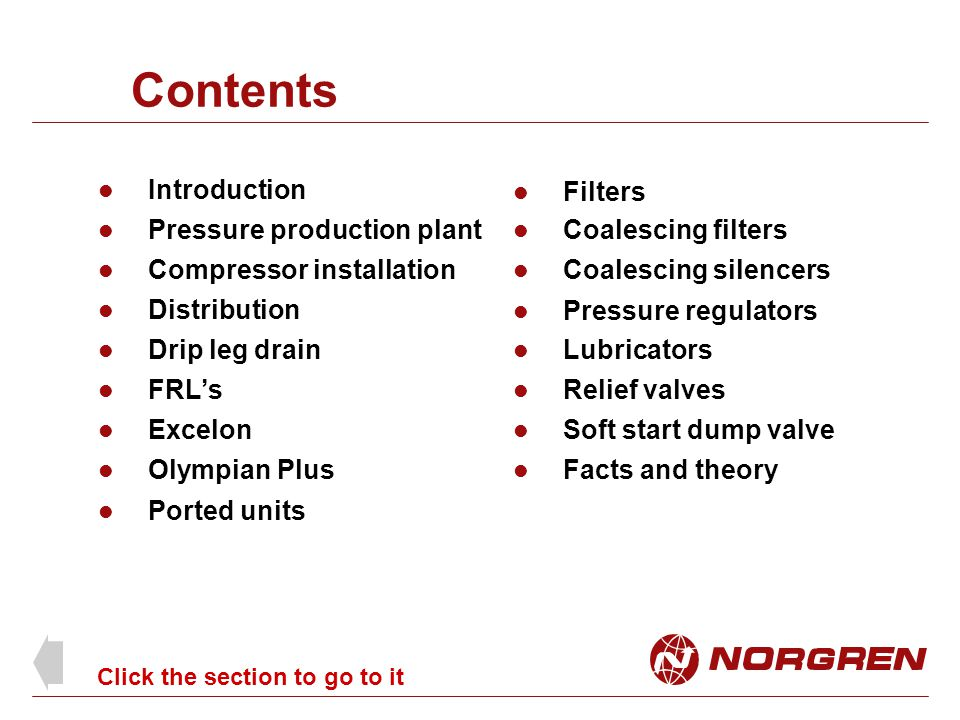 Contents Introduction Filters Pressure production plant