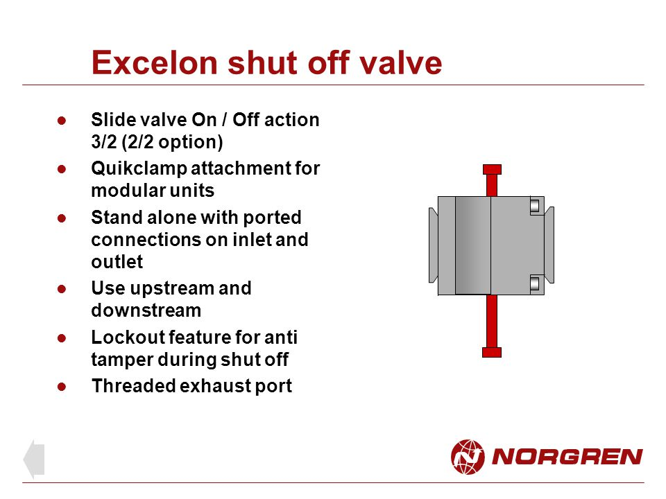 Excelon shut off valve Slide valve On / Off action 3/2 (2/2 option)