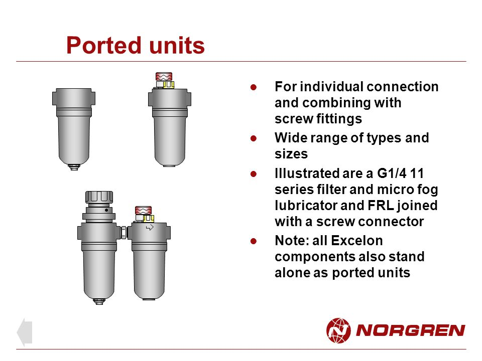 Ported units For individual connection and combining with screw fittings. Wide range of types and sizes.