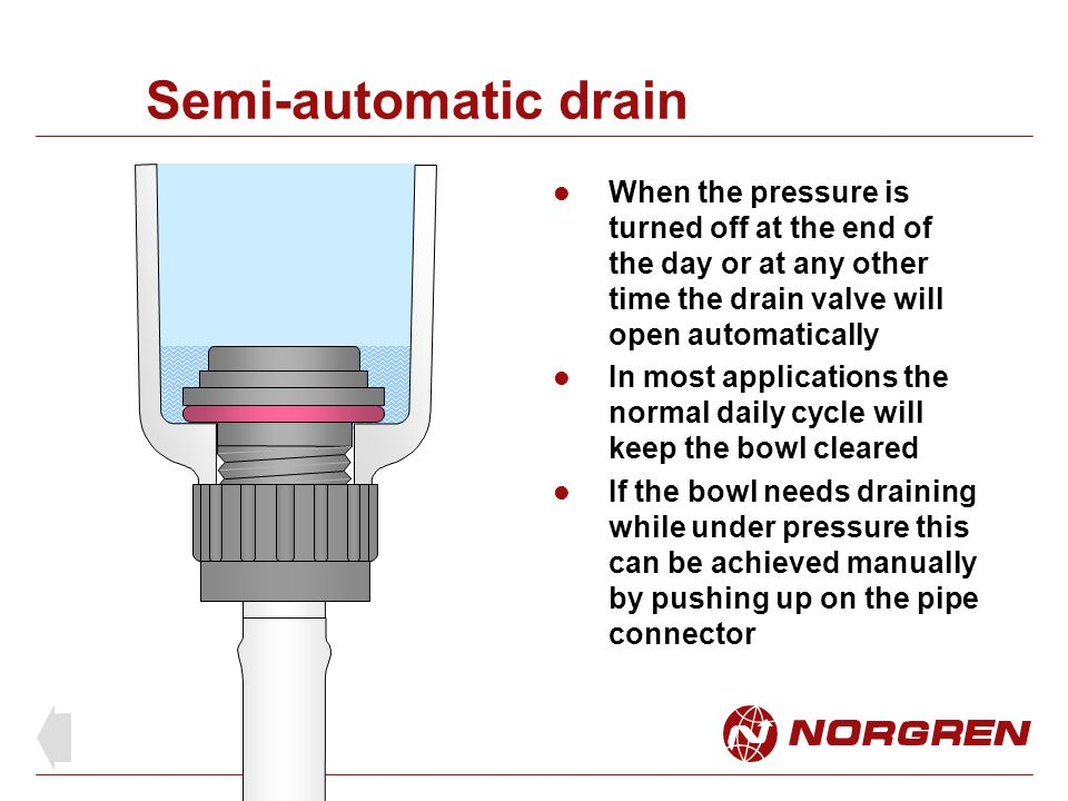 Semi-automatic drain When the pressure is turned off at the end of the day or at any other time the drain valve will open automatically.