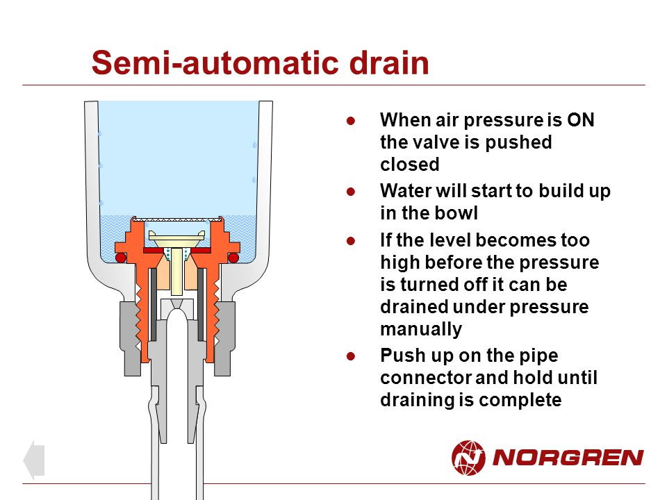 Semi-automatic drain When air pressure is ON the valve is pushed closed. Water will start to build up in the bowl.