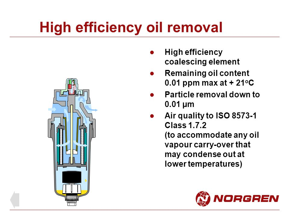 High efficiency oil removal