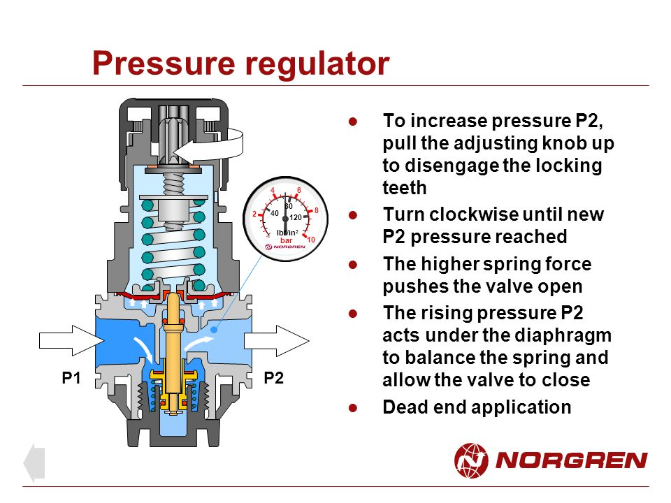 Pressure regulator To increase pressure P2, pull the adjusting knob up to disengage the locking teeth.