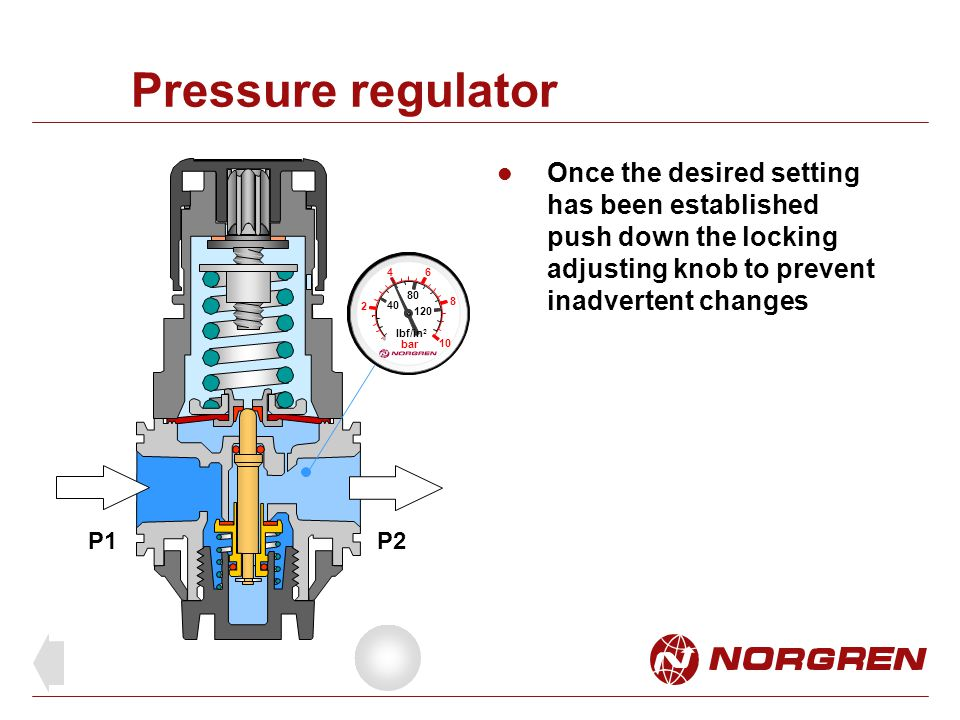 Pressure regulator Once the desired setting has been established push down the locking adjusting knob to prevent inadvertent changes.