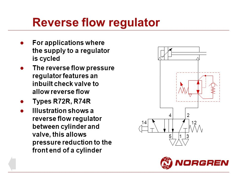 Reverse flow regulator