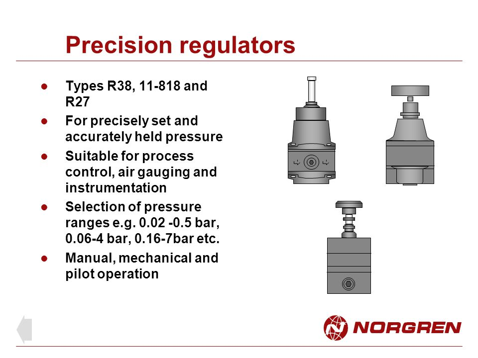 Precision regulators Types R38, 11-818 and R27