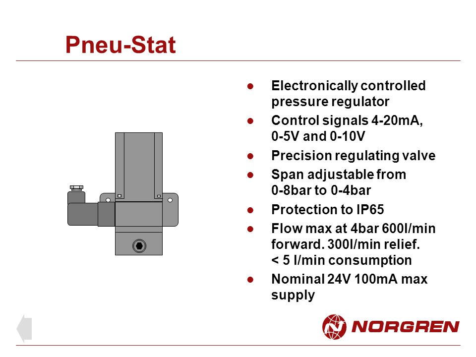 Pneu-Stat Electronically controlled pressure regulator