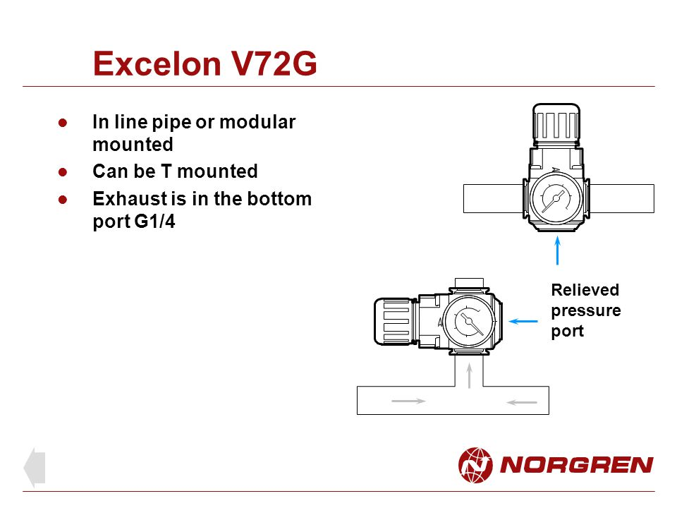 Excelon V72G In line pipe or modular mounted Can be T mounted