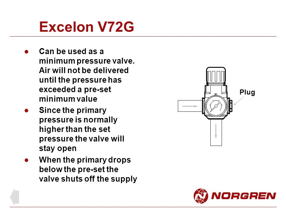 Excelon V72G Can be used as a minimum pressure valve. Air will not be delivered until the pressure has exceeded a pre-set minimum value.