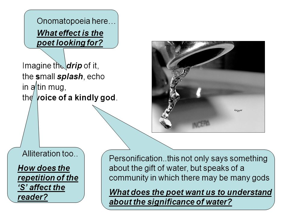 Onomatopoeia here… What effect is the poet looking for Imagine the drip of it, the small splash, echo.