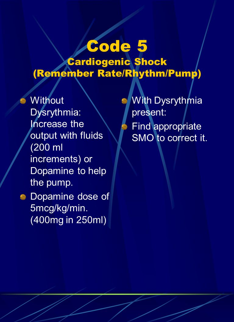 Code 5 Cardiogenic Shock (Remember Rate/Rhythm/Pump)