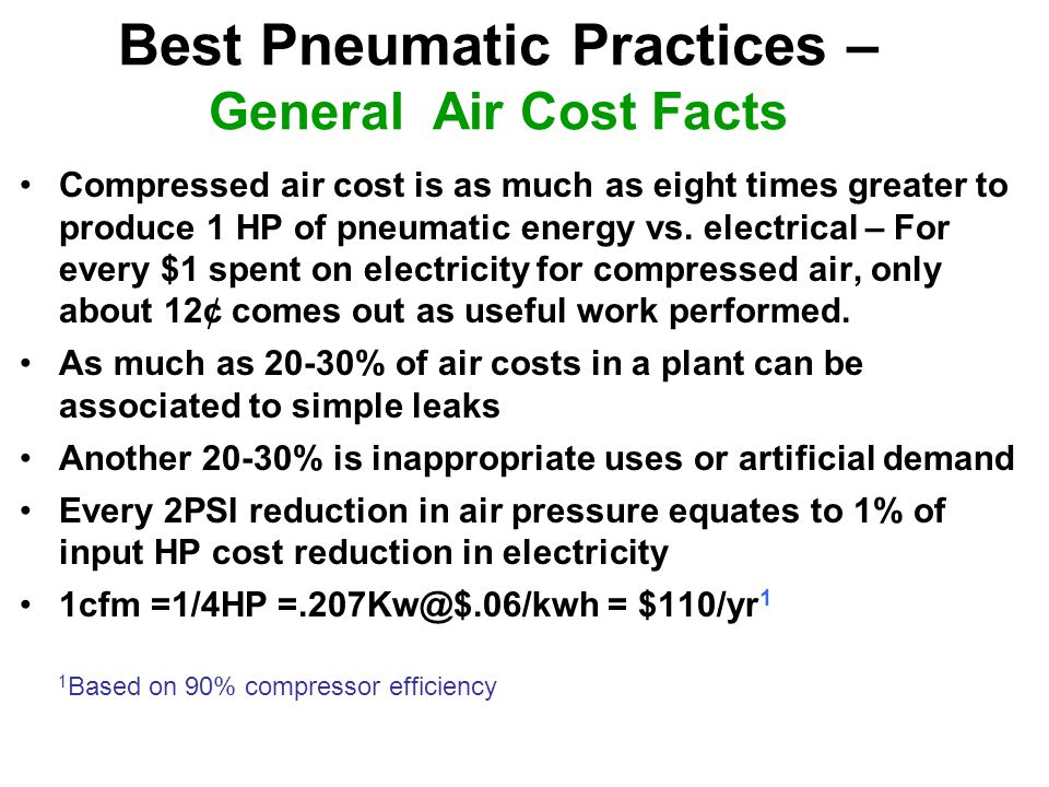 Best Pneumatic Practices – General Air Cost Facts