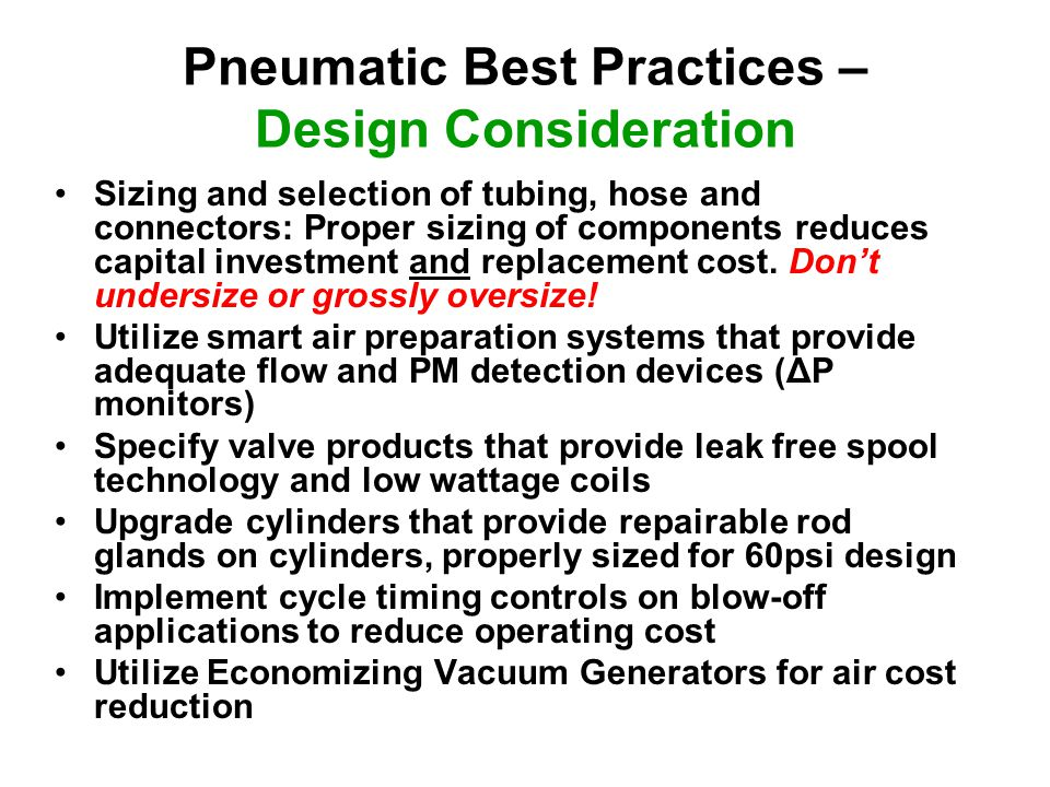 Pneumatic Best Practices – Design Consideration