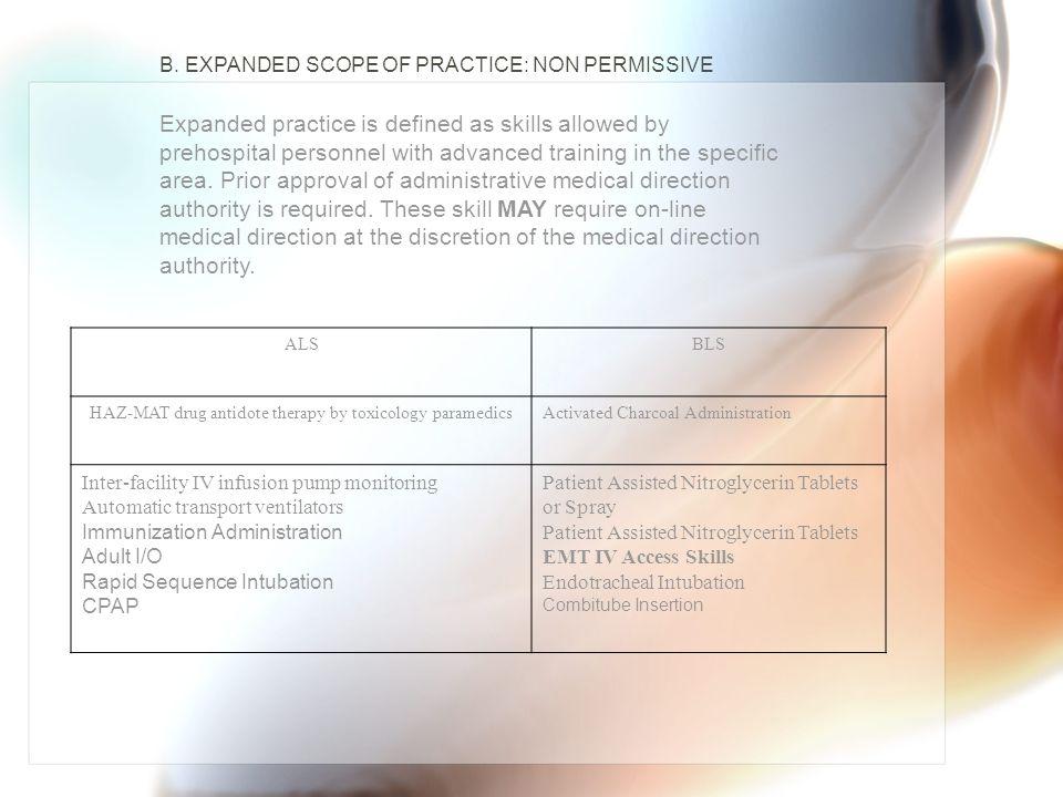 HAZ-MAT drug antidote therapy by toxicology paramedics