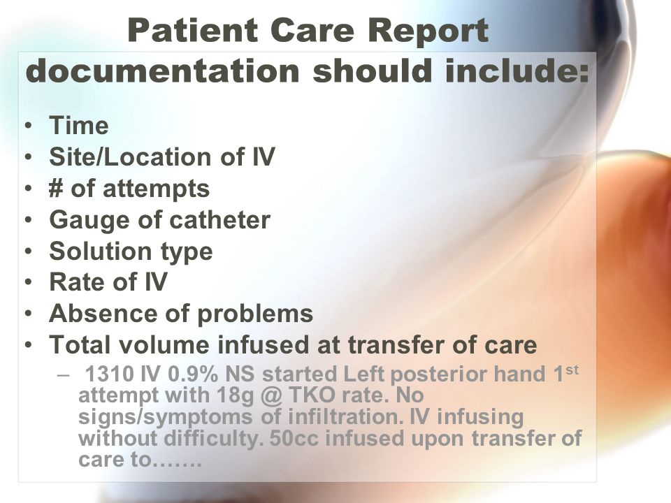 Patient Care Report documentation should include: