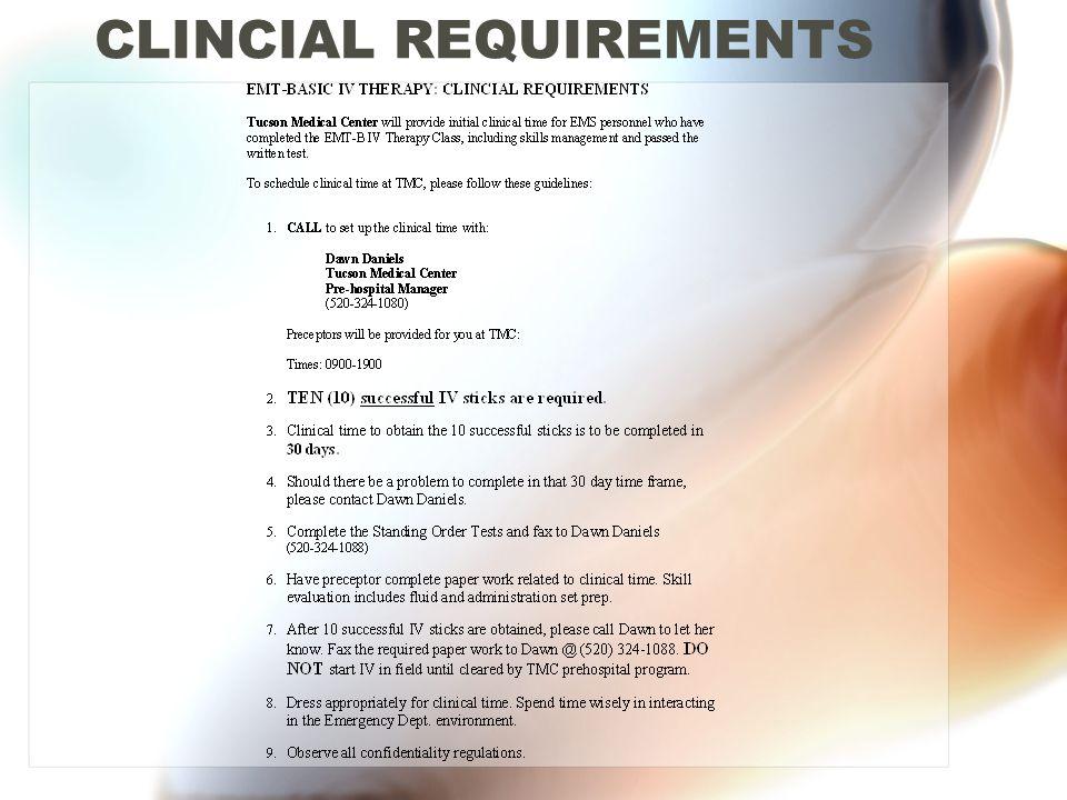 CLINCIAL REQUIREMENTS