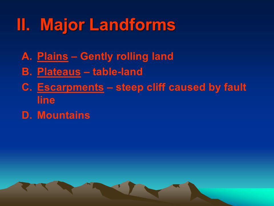 II. Major Landforms Plains – Gently rolling land Plateaus – table-land