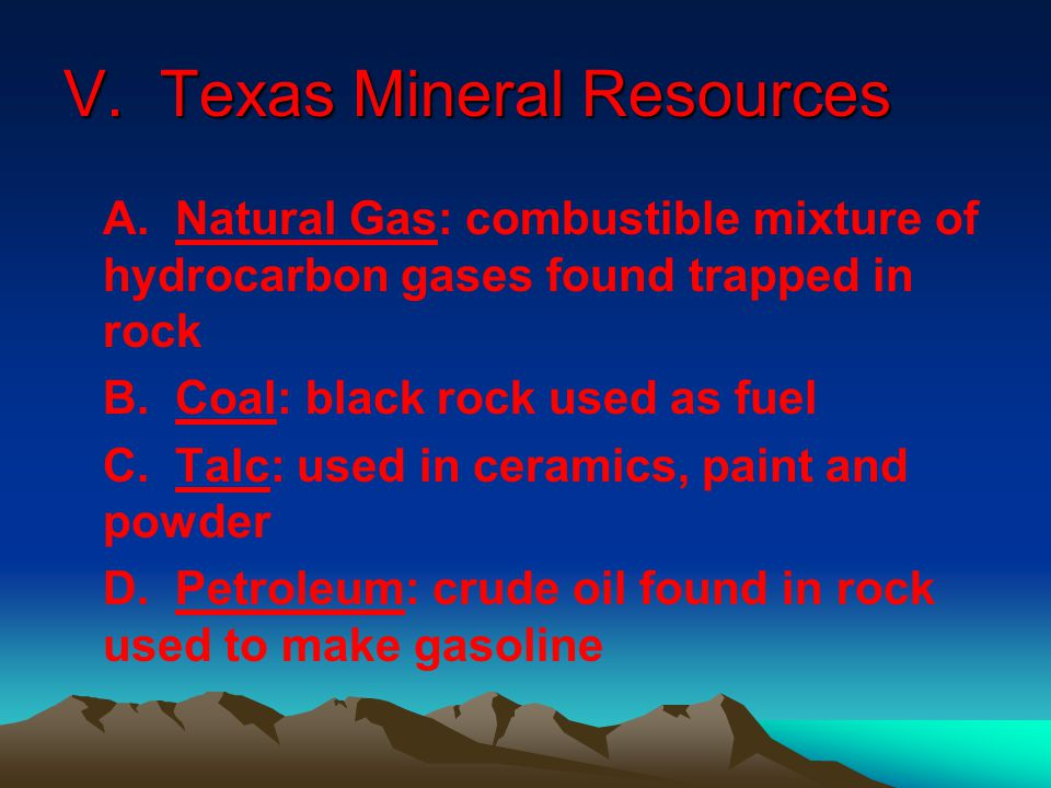 V. Texas Mineral Resources