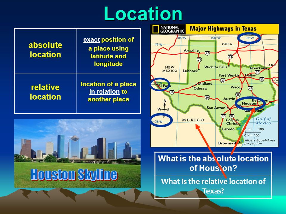 Location absolute location relative location