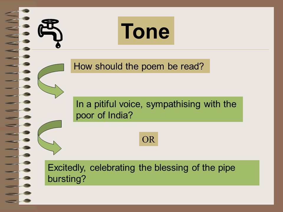 Tone How should the poem be read