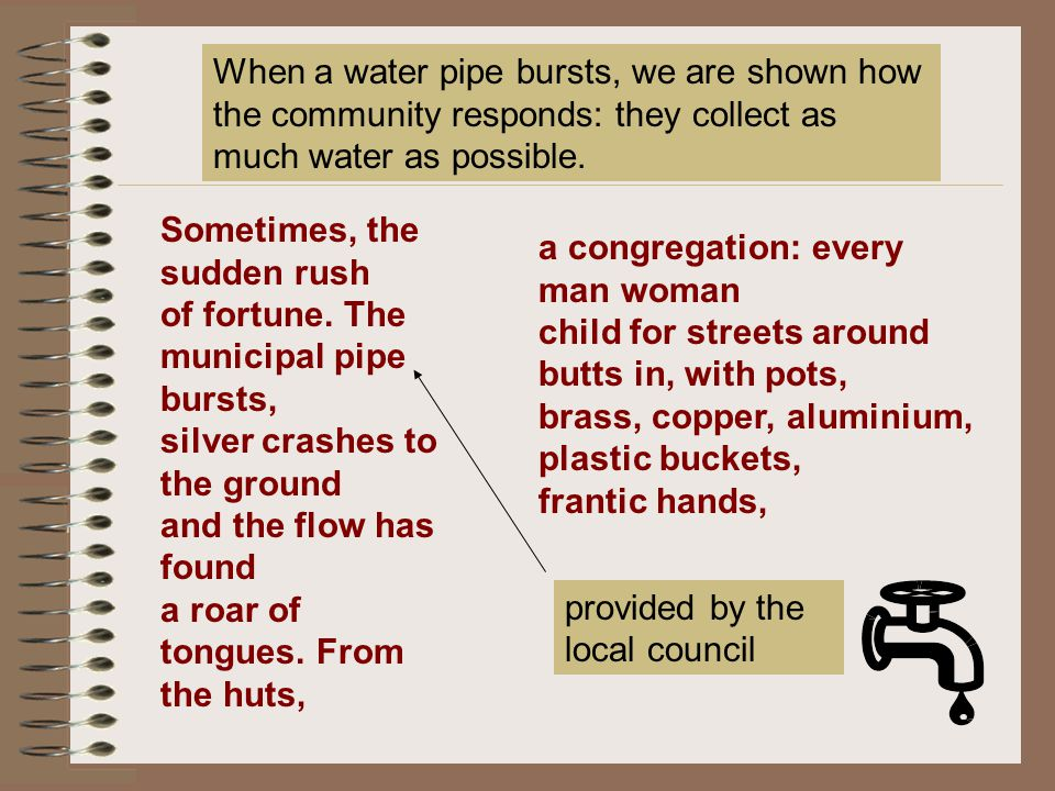 When a water pipe bursts, we are shown how the community responds: they collect as much water as possible.