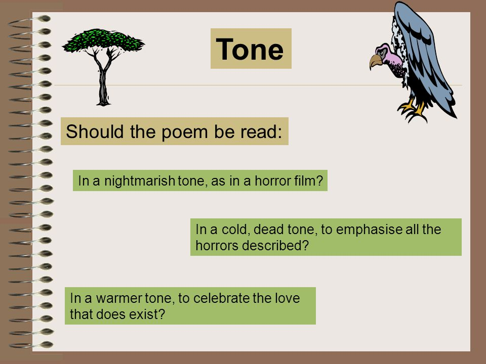 Tone Should the poem be read: