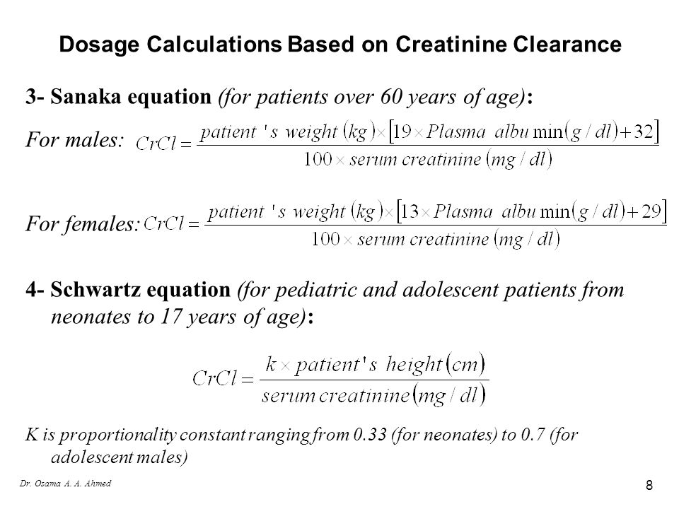 Dosage Calculations Based on Creatinine Clearance