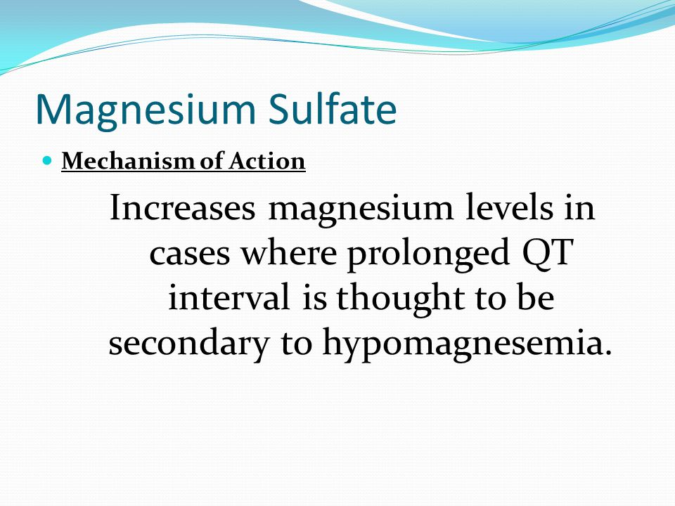 Magnesium Sulfate Mechanism of Action.